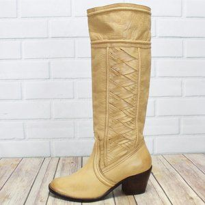 FOSSIL Tall Woven Side Pull-on Heel Boots Size 8